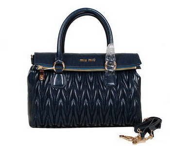 miu miu Matelasse Nappa Leather Top-Handle Bag RN0947 Blue
