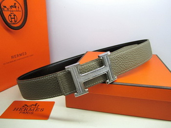 Hermes Calf Leather Diamond Belt HB118 Khaki Silver
