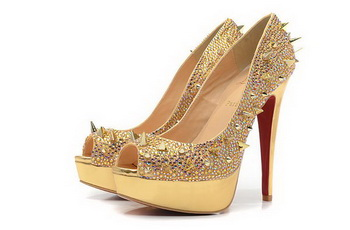 Christian Louboutin Lady 140 Peep Toe Spikes Pumps Gold Satin