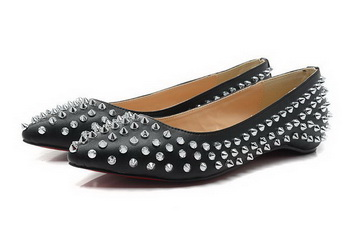 Christian Louboutin PIGALLE SPIKES Flat CL1329 Black Sheepskin Silver