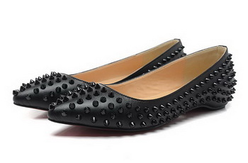 Christian Louboutin PIGALLE SPIKES Flat CL1329 Black Sheepskin