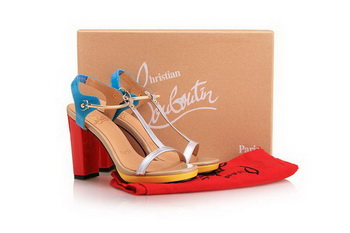 Christian Louboutin Patent 100mm Sandals CL10304 Blue&Red