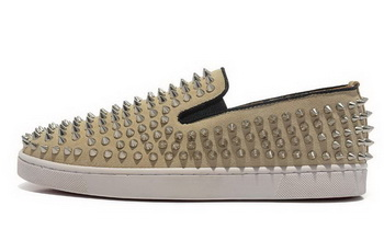 Christian Louboutin Roller-boat Mens Flat CL739 Apricot Suede
