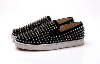 Christian Louboutin Roller-boat Mens Flat CL739 Black Suede