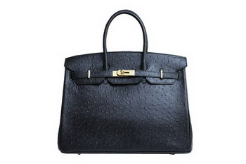 Hermes Kelly 35cm Top Handle Bag Black Ostrich Leather Gold