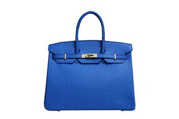 Hermes Kelly 35cm Top Handle Bag Blue Ostrich Leather Gold