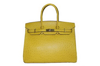 Hermes Kelly 35cm Top Handle Bag Lemon Ostrich Leather Gold