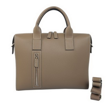 Hermes Mens Briefcase Calf Leather H1705 Khaki