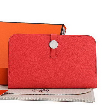 Hermes Dogon Combined Wallet A508 Light Red