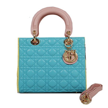 Lady Dior Bag mini Bag in Sheepskin Leather D9601 Blue&Pink&Yellow