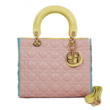 Lady Dior Bag mini Bag in Sheepskin Leather D9601 Pink&Yellow&Blue