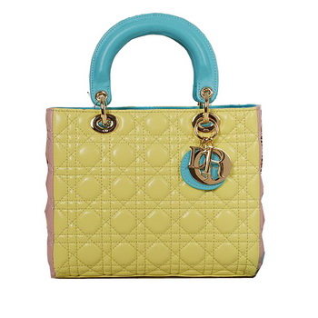 Lady Dior Bag mini Bag in Sheepskin Leather D9601 Yellow&Pink&Blue