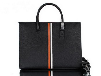 Hermes Mens Briefcase Calf Leather 95518 Black