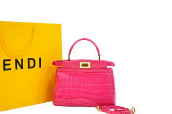 Fendi Icoic Peekaboo Bag in Plum Original Croco Leather