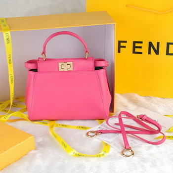 Fendi Icoic mini Peekaboo Bag Smooth Leather F8092 Plum