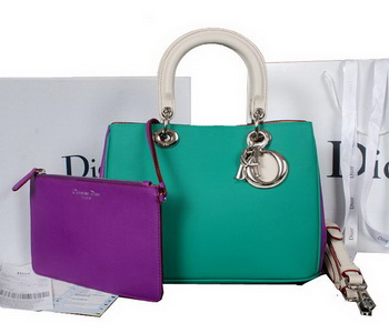 Dior Diorissimo Bag in Calfskin Leather D0902 Green&Purple