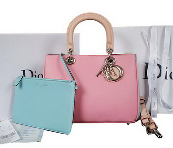 Dior Diorissimo Bag in Calfskin Leather D0902 Pink&SkyBlue