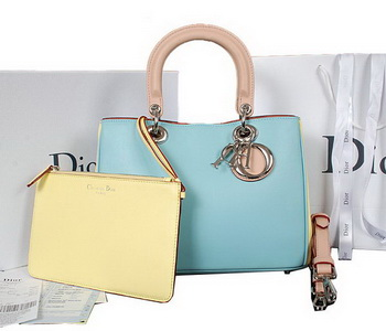Dior Diorissimo Bag in Calfskin Leather D0902 SkyBlue&Light Yellow