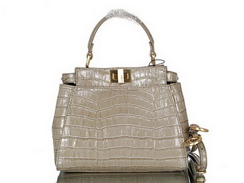 Fendi Icoic Peekaboo Bag Original Croco Leather F8243 Khaki