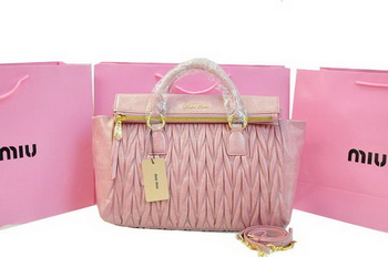 miu miu Matelasse Bright Leather Top-Handle Bag RN0947 Pink