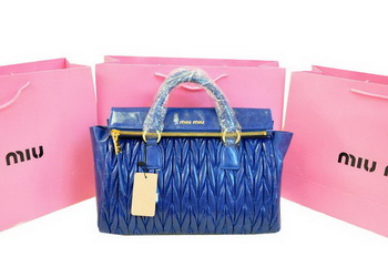 miu miu Matelasse Bright Leather Top-Handle Bag RN0947 RoyalBlue