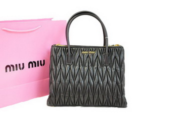 miu miu Matelasse Nappa Leather Three Pocket Bag RN0941 Black