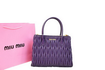 miu miu Matelasse Nappa Leather Three Pocket Bag RN0941 Dark Purple