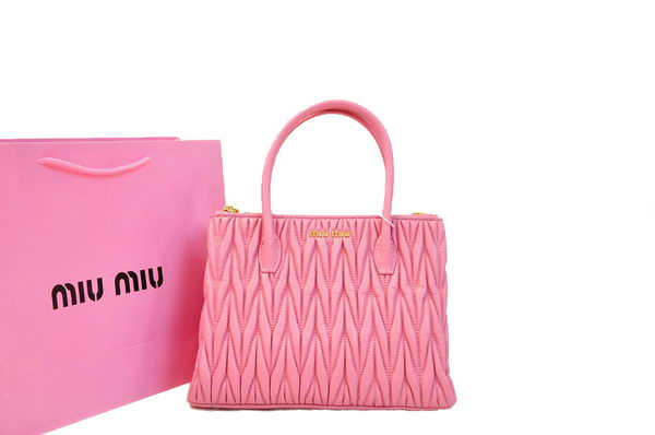 miu miu Matelasse Nappa Leather Three Pocket Bag RN0941 Pink