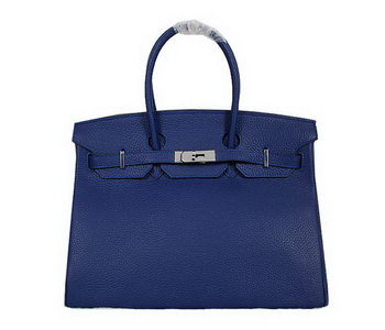 Hermes Birkin 35CM Tote Bag RoyalBlue Clemence Leather H35 Silver