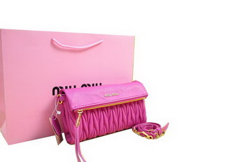 miu miu Pressed Small Matelasse Nappa Lamb leather Clutch RP0345 Peach
