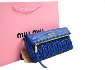 miu miu Pressed Small Matelasse Nappa Lamb leather Clutch RP0345 RoyalBlue
