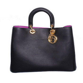 Dior Medium Diorissimo Bag Fluorescence Leather 44373 Black&Plum