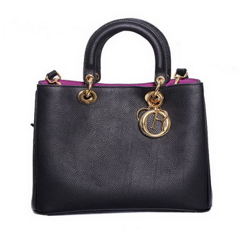 Dior Small Diorissimo Bag Fluorescence Leather 44374 Black&Plum