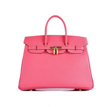 Hermes Birkin 35CM Tote Bag Pink Grainy Leather H6089 Gold