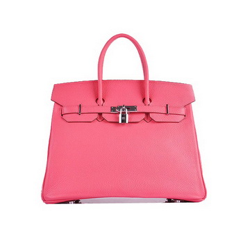 Hermes Birkin 35CM Tote Bag Pink Grainy Leather H6089 Silver