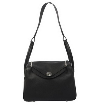 Hermes Lindy 30CM Havanne Shoulder Bag Black