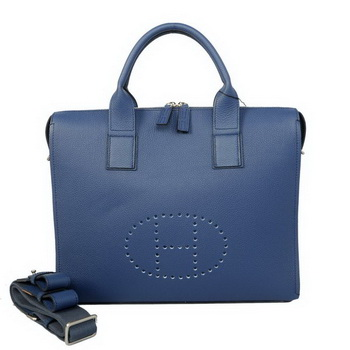 Hermes Mens Briefcase Calf Leather H1705A Royalblue