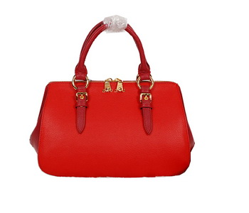 miu miu Pebble-Finish Madras Goat Leather Top-handle Bag 88008 Red&Maroon