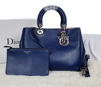 Dior Diorissimo Bag in Smooth Calfskin Leather D0902 Blue
