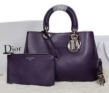 Dior Diorissimo Bag in Smooth Calfskin Leather D0902 Purple