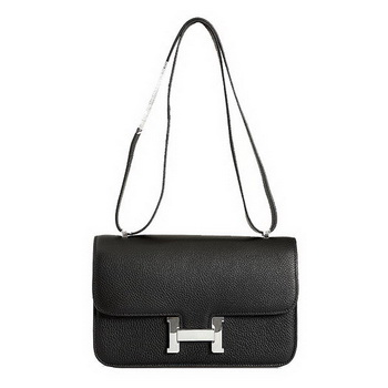 Hermes Constance Bag Black Grainy Leather 9999 Silver