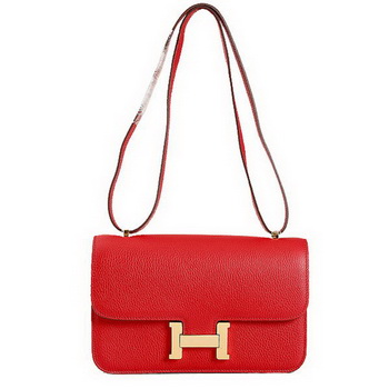 Hermes Constance Bag Red Grainy Leather 9999 Gold