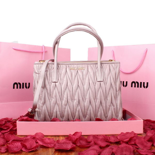 miu miu Matelasse Original Leather Three Pocket Bag RN0941 Light Purple