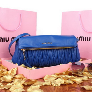 miu miu Pressed Small Matelasse Nappa Lamb leather Clutch RP0960 Blue