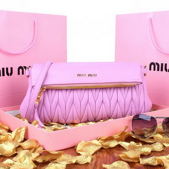 miu miu Pressed Small Matelasse Nappa Lamb leather Clutch RP0960 Purple
