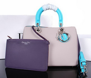 Dior Diorissimo Bag in Original Leather D0902 Grey&Purple