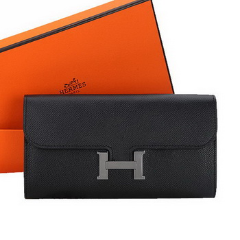 Hermes Constance Long Wallets Original Calfskin Leather A909 Black