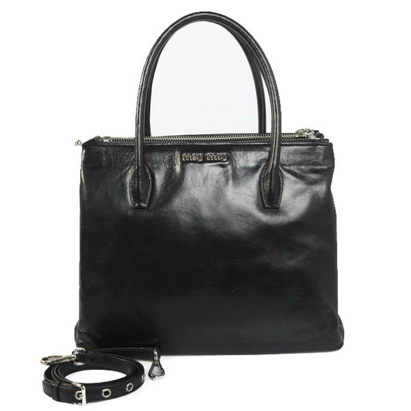 miu miu Matelasse Bright Leather Three Pocket Bag RN0941 Black