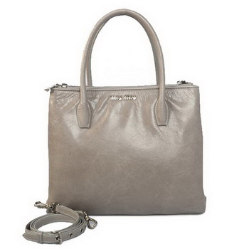 miu miu Matelasse Bright Leather Three Pocket Bag RN0941 Grey