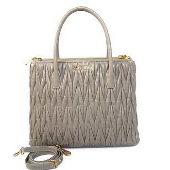miu miu Matelasse Original Bright Leather Three Pocket Bag RN0941 Grey